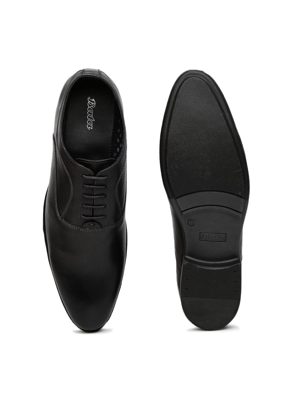 Bata Men Black Leather Semiformal Oxford Shoes image 1