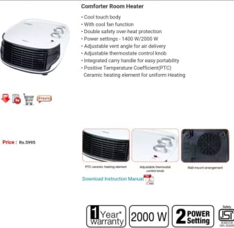 Havells Comforter 2000W Room Heater  image 3