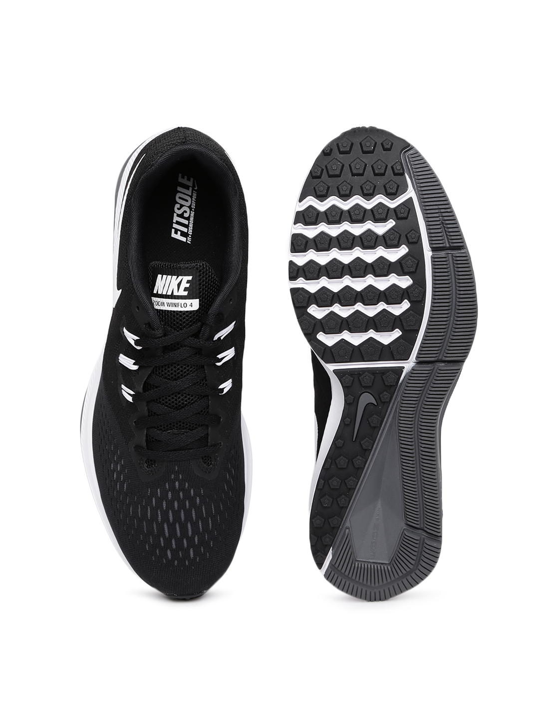NIKE Men Black Zoom Winflo 4 Running Shoes image 1