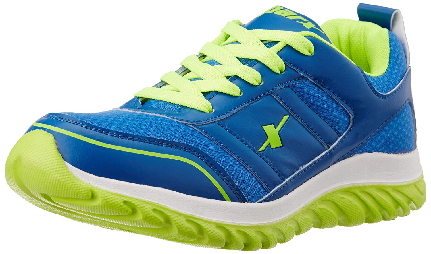 SPARX Mens Blue and Fluorescent Green Running Shoes - 8 UK image 1
